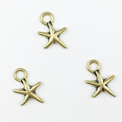bra charms 1123 star with antique gold color