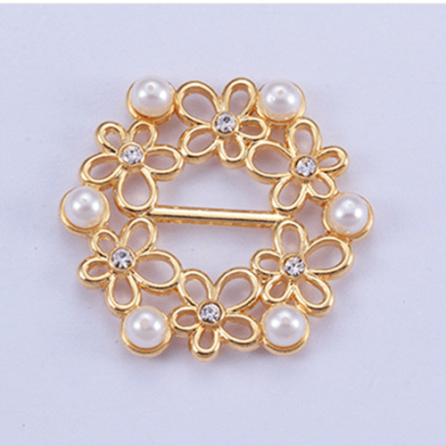 Zinc alloy adjuster swimwear buckle 11303 with pearl