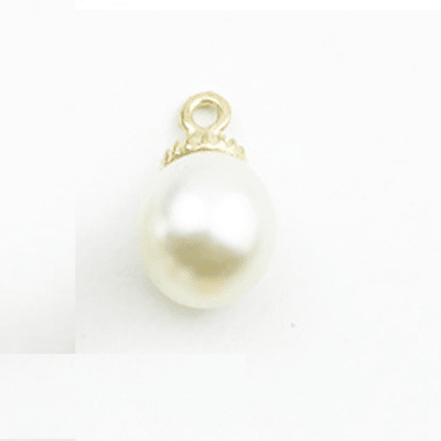 bra charms 1056 round/crown with pearls